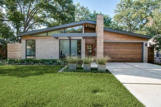 light grey and wood mid-century modern home, exterior view