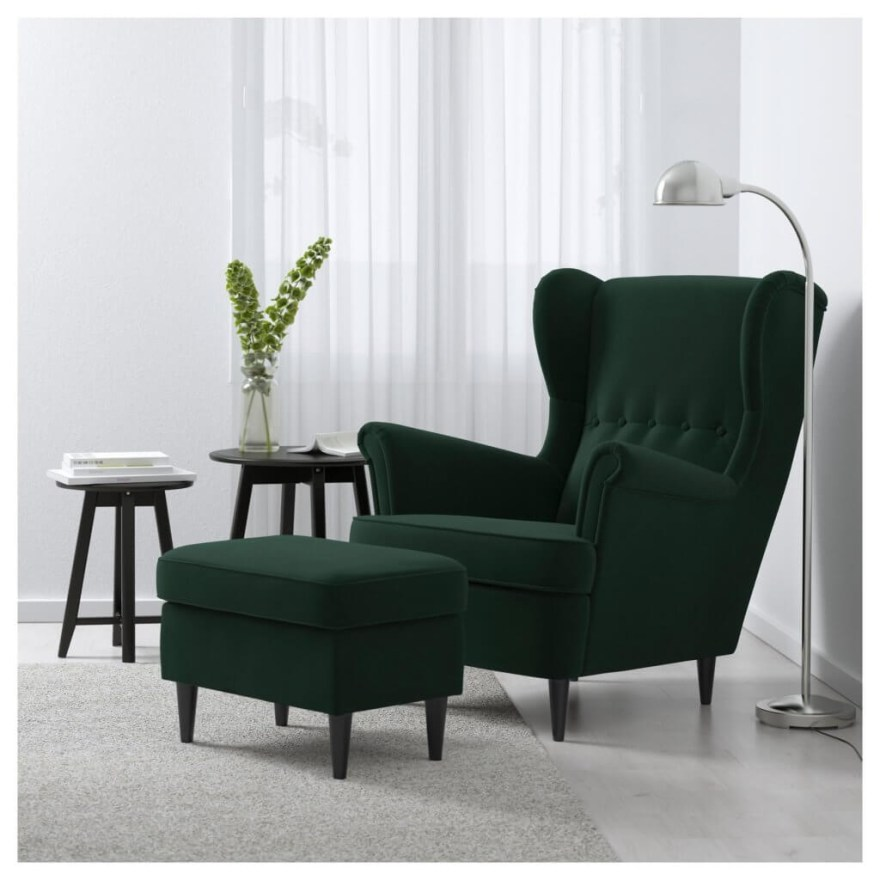 strandmon wing chair with ottoman in dark forest green