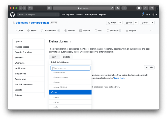 GitHub repo settings page, showing default branch option