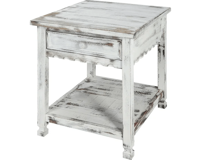 bolton furniture inc country cottage rustic white antique finish end table acca01wa goedekers com