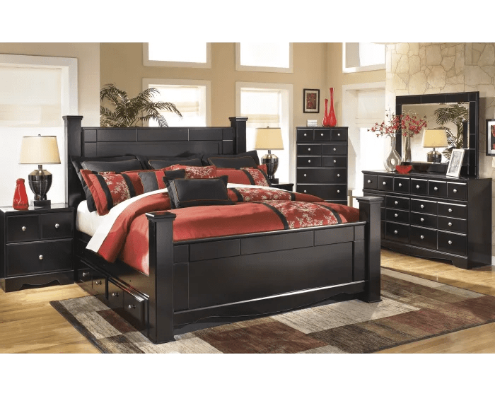 signature design by ashley shay almost black 4 piece king bedroom set with under bed storage b271 31 b271 36 b271 46 b271 92 b271 61 b271 66