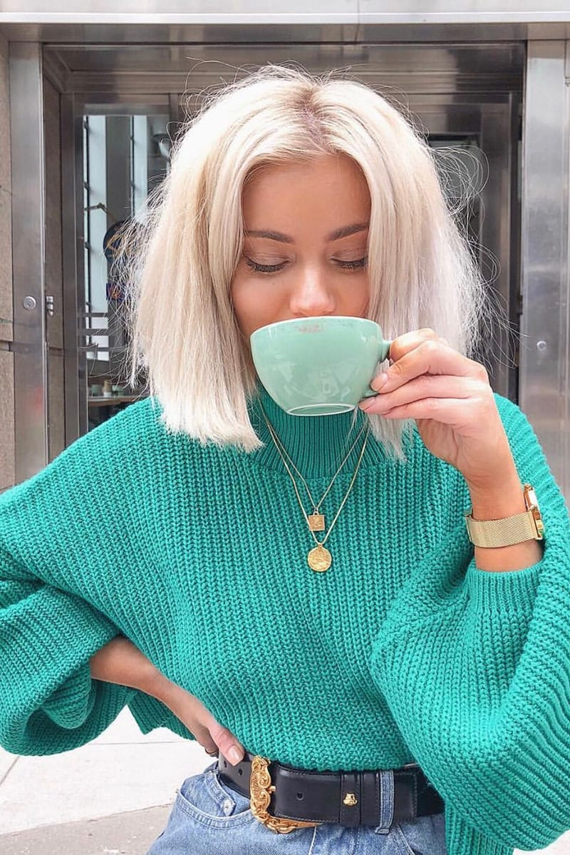 Green Cropped Balloon Sleeve Jumper