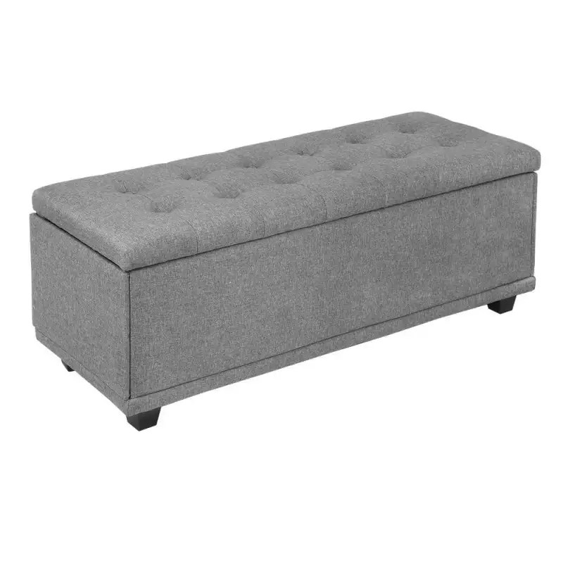 open box homegear 47 large fabric ottoman storage bench chest footrest with padded seat and hinged lid gray
