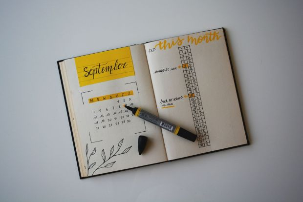 Monthly spread in bullet journal