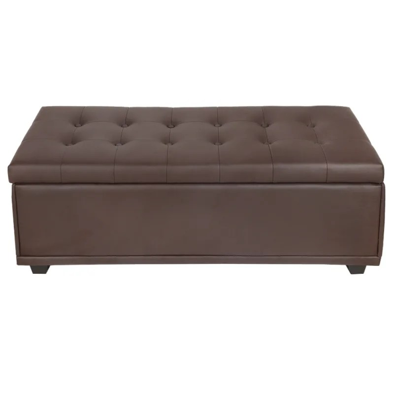 homegear 47 large faux leather ottoman storage bench chest footrest with padded seat and hinged lid brown
