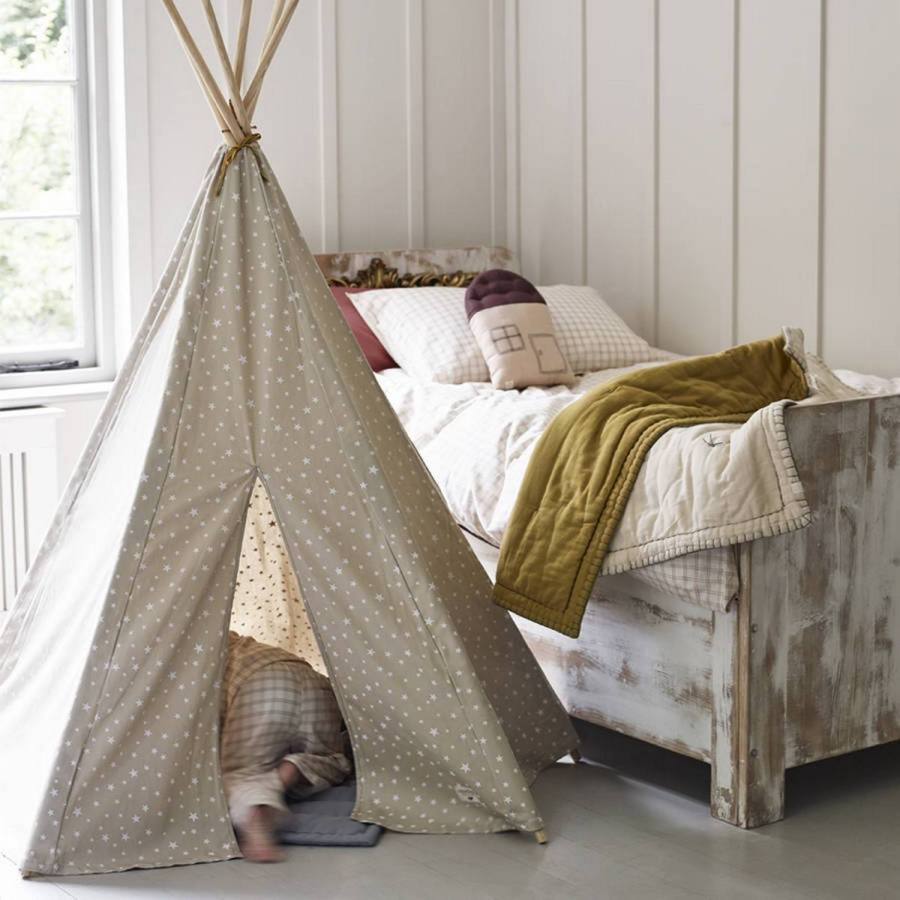 If you have children, make a teepee for them outdoors: this will be a private nook where you kid can enjoy seclusion, play and maybe sleep.