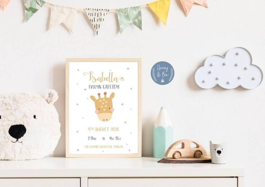 Proudly display the details of a baby's name, weight and date and place of birth with this collection of cute and chic ready-to-hang prints. From colourful illustrations to minimal typography, we bet you'll find something to suit your little one's space.