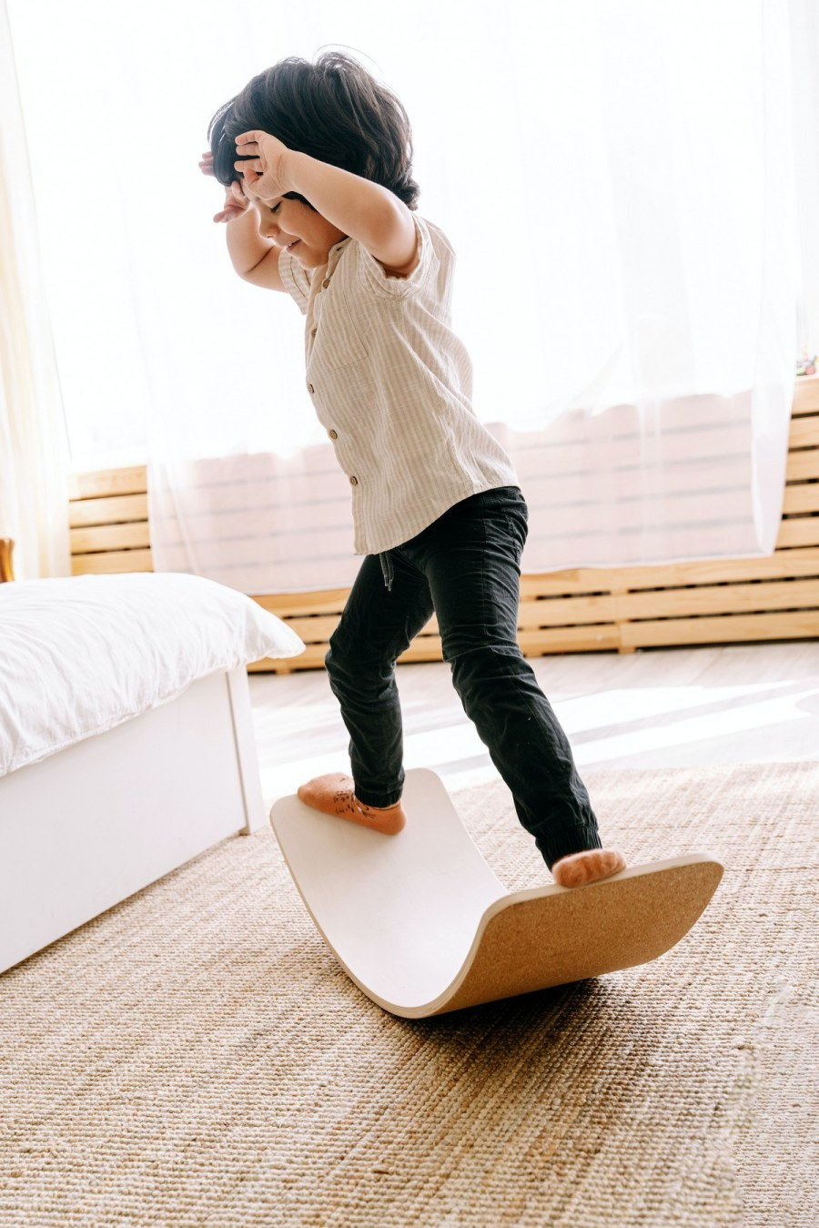 Ultimately, children's balance boards are meant for fun! Wooden balance boards are not to be confused with training balance boards (which work core muscles as you balance), they are meant to encourage physical, open-ended play between kids.
