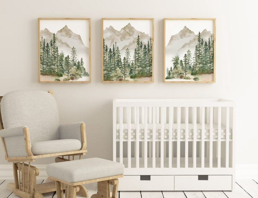 Create the perfect rustic mountain nursery. You can also add different animals. If you want, you can do super cute animals or a more rustic theme. These are some of the best ideas we've gathered for your inspiration. The collection includes wall art, blankets, and mobiles that feature mountains. Start planning your perfect mountain nursery today!