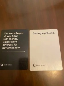 Cards Against Humanity Family Edition winning round