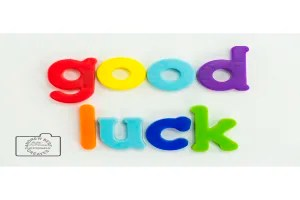 Good luck greetings card linking to Etsy store to buy