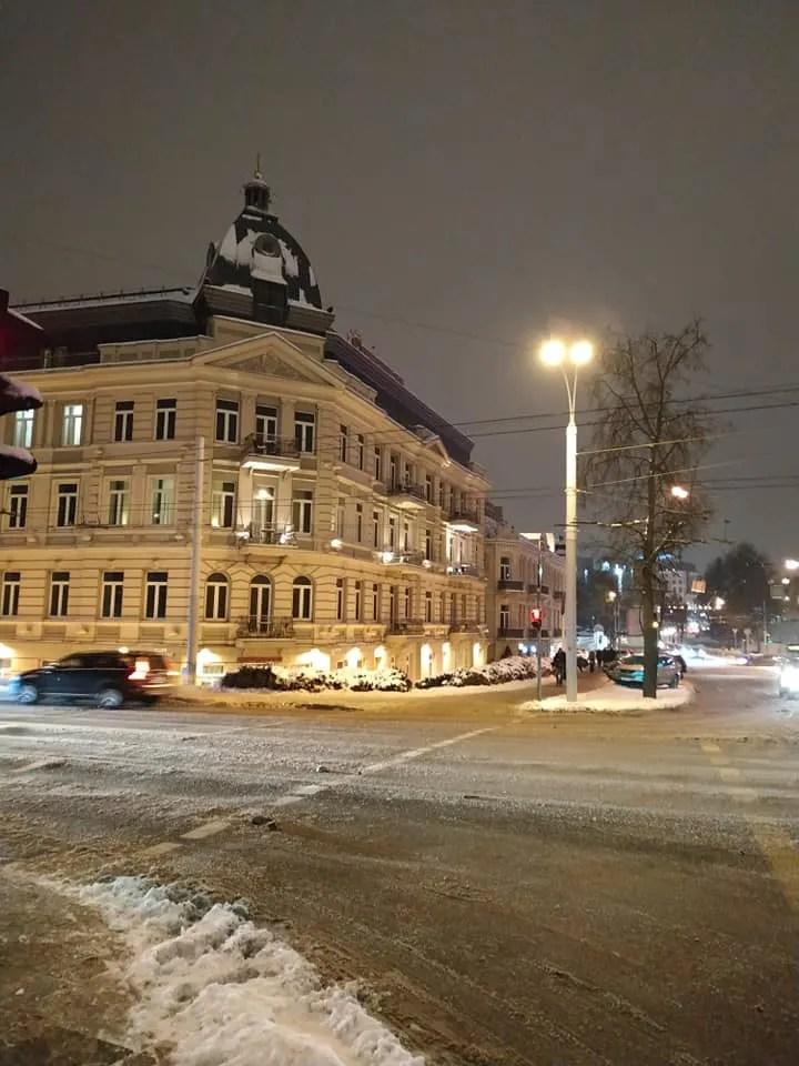 Congress Hotel, Vilnius. View from the Green Bridge.