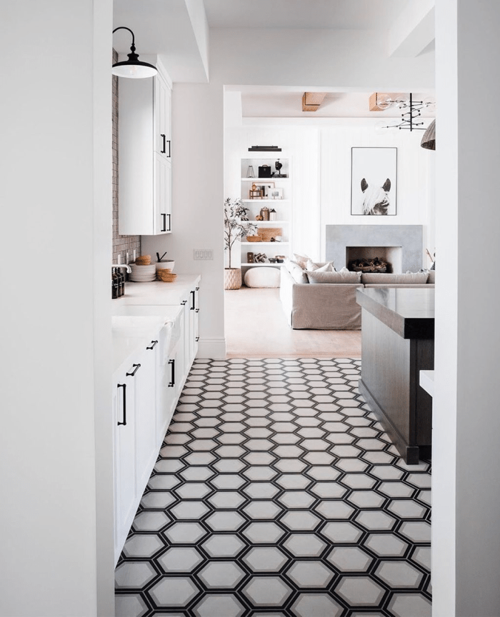 black and white tile and stone