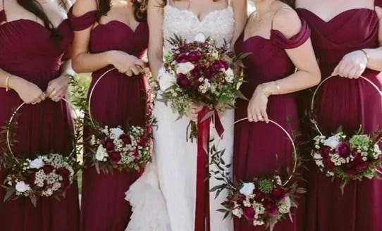 White And Burgundy Wedding Package In Las Vegas, NV