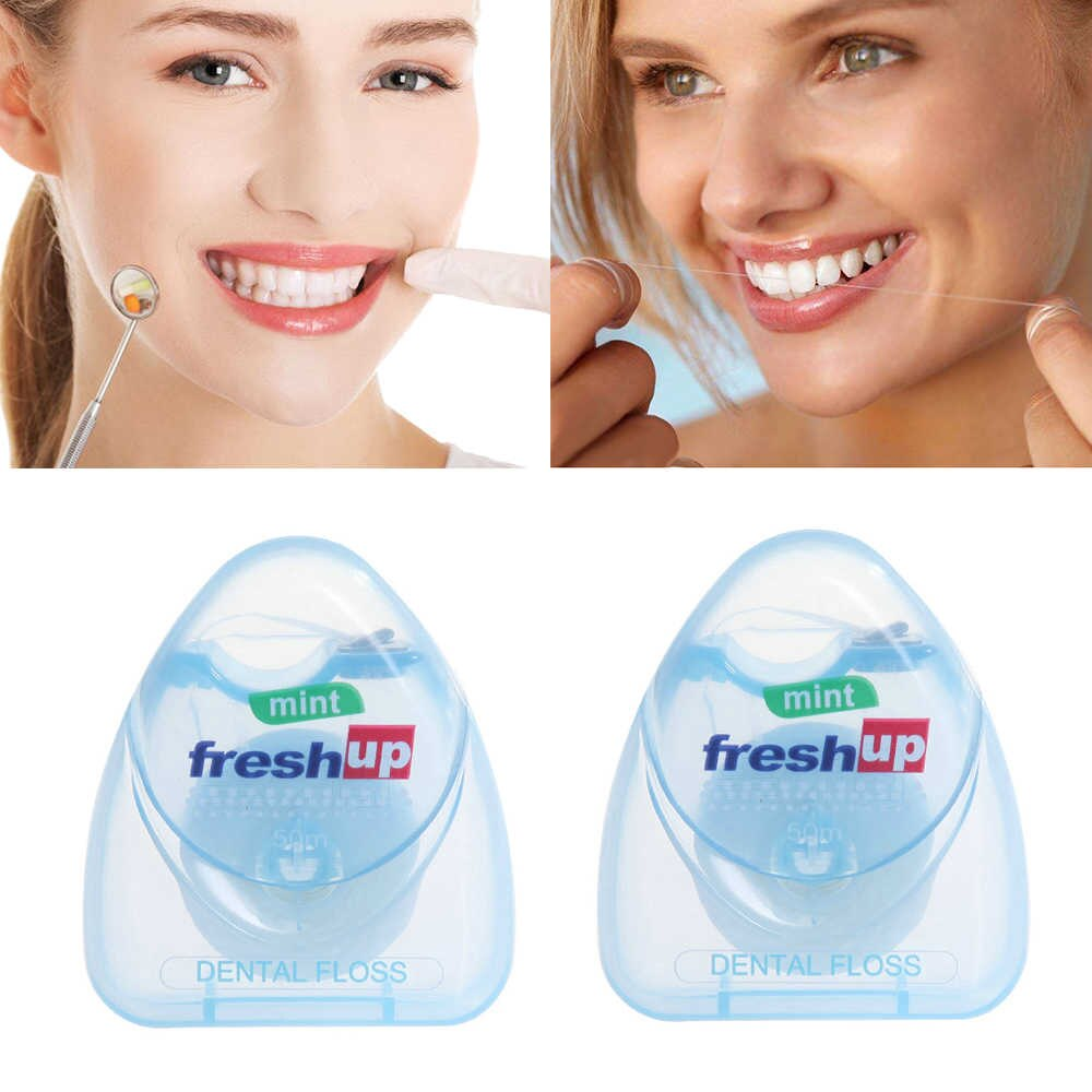 1PC 50m Dental Floss Oral Hygiene Teeth Cleaning Dental Floss Spool Toothpick Teeth Oral Care Tooth Clean Drop Ship
