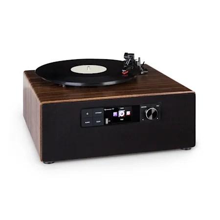 connect vinyl cube platine vinyle avec radio internet dab fm usb marron