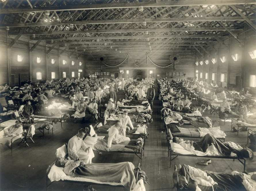 emergency hospital in Kansas during the Spanish flu pandemic in 1918.