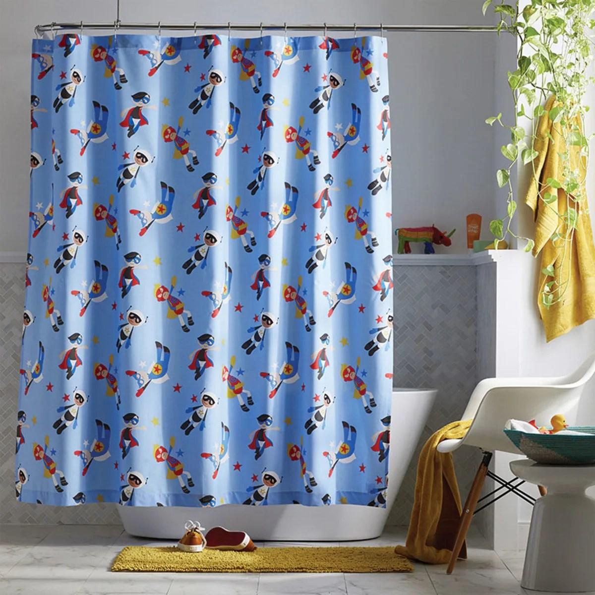 company kids superheroes organic cotton percale shower curtain multi