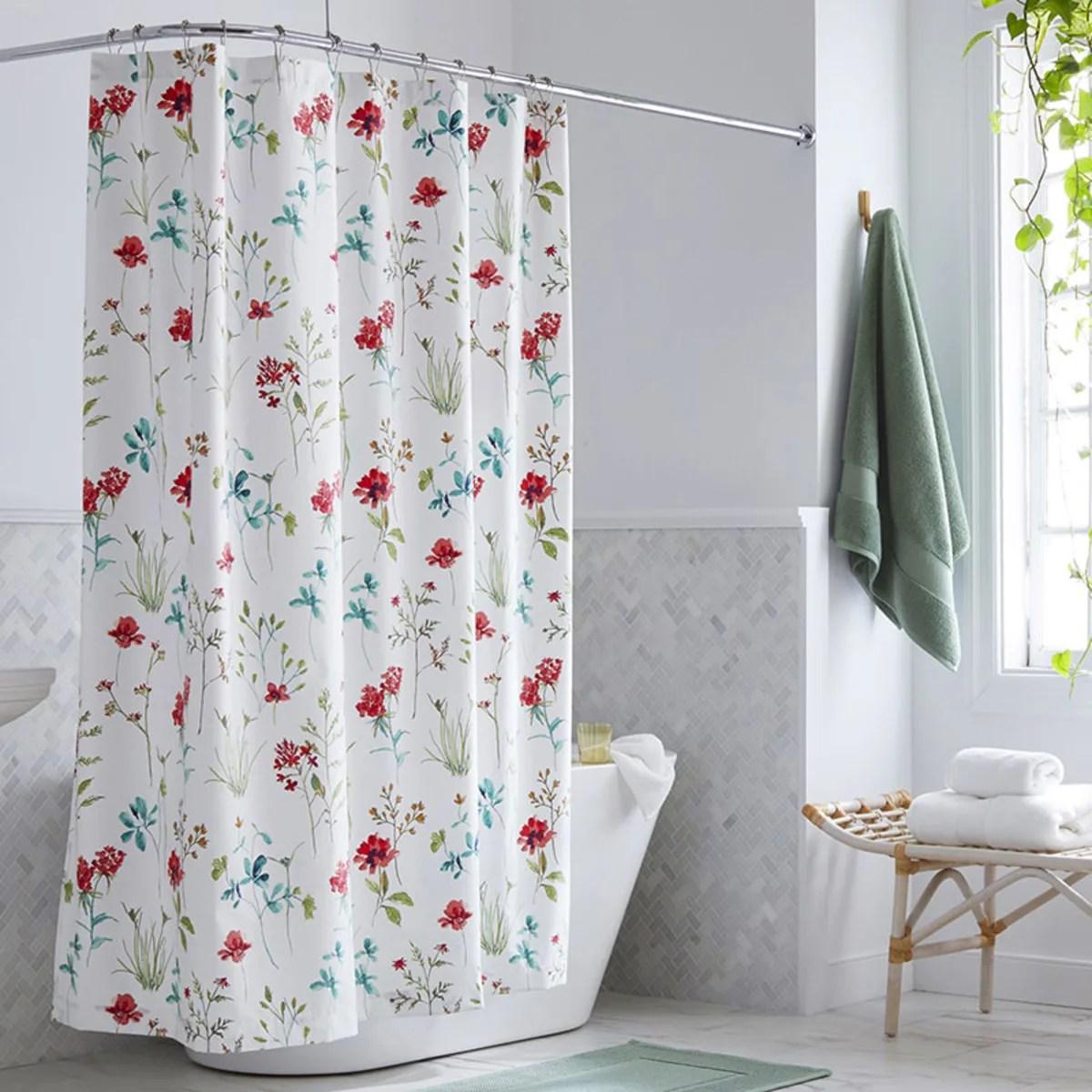 company cotton wildflower wrinkle free sateen shower curtain