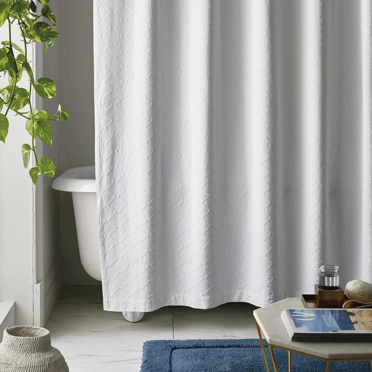 legends luxury lattice cotton matelasse shower curtain white