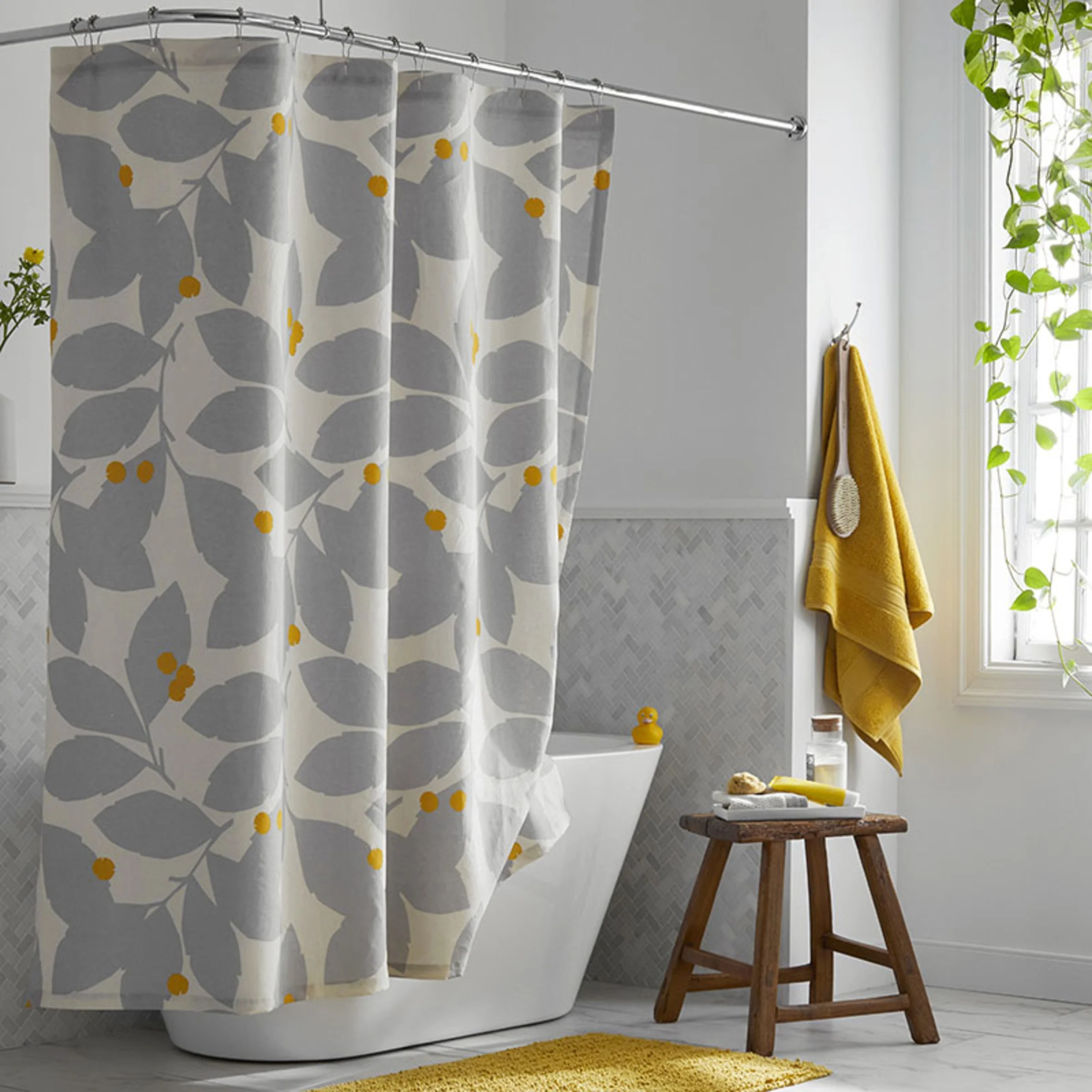 legends hotel floral relaxed linen shower curtain