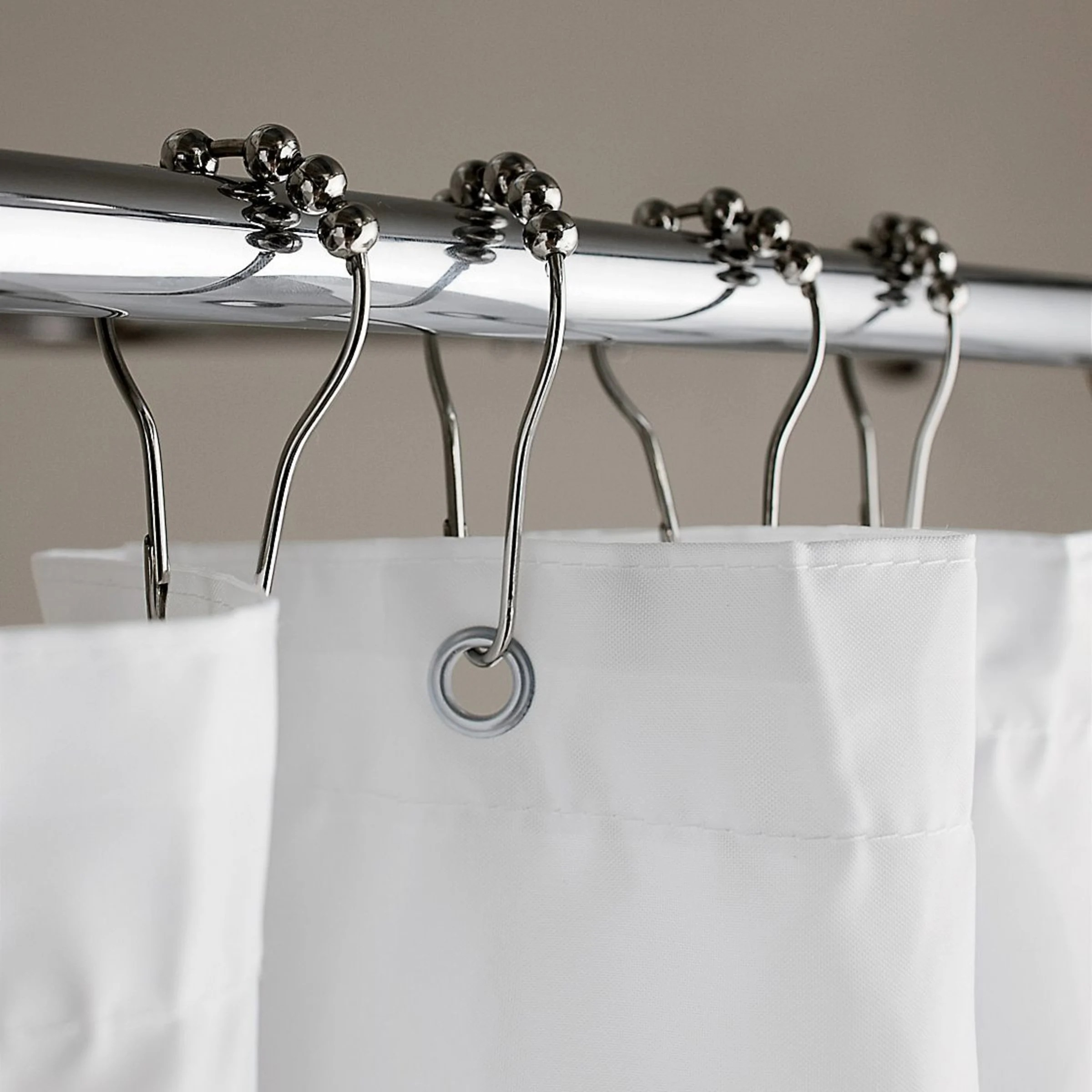 roller shower curtain hooks set of 12 chrome