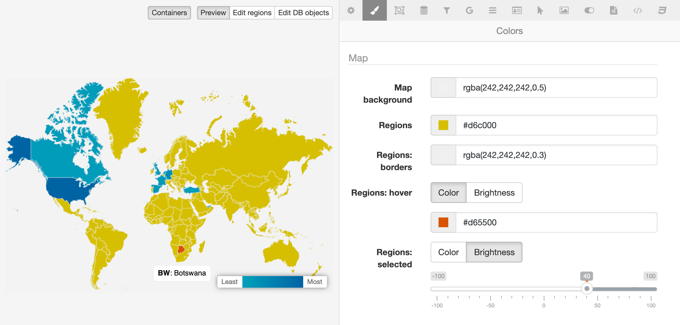 A screenshot of the MapSVG screen for color settings. A preview of the map is displayed on the left side and option fields on the right for background, borders, regions, and hover effects.