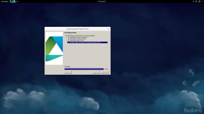 Autodesk Maya install window