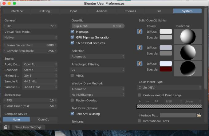 Blender User Preference