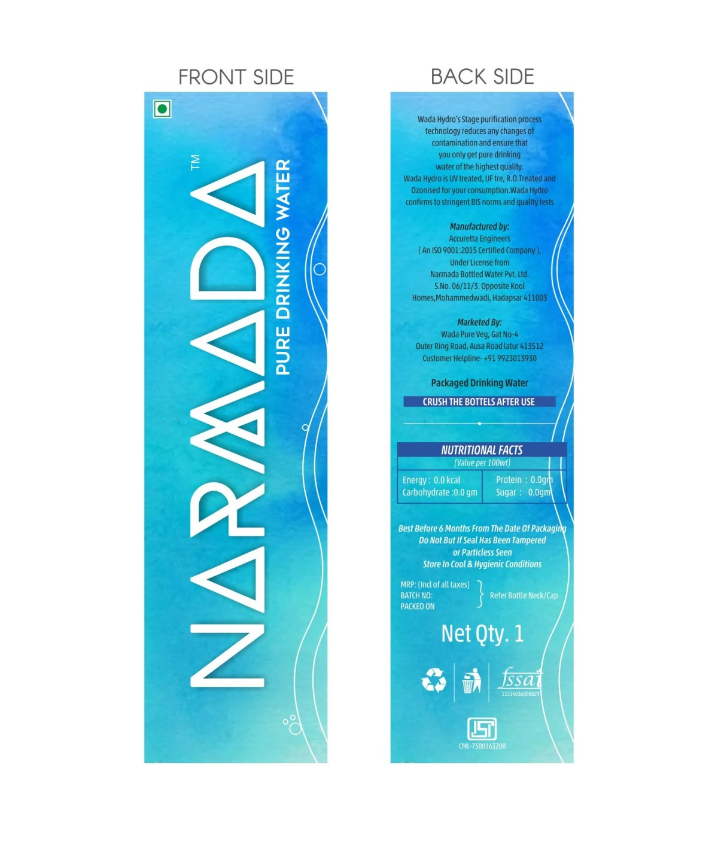 Label Design for Narmada Water Bottles