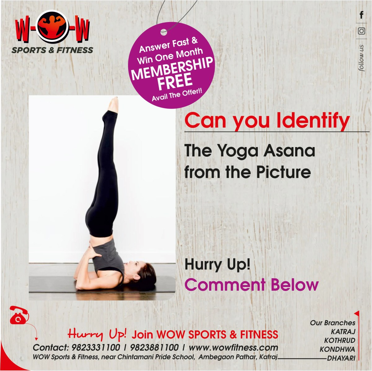 Quiz Campaign Designed for WOW Fitness Gym in Pune by Bigadtruck