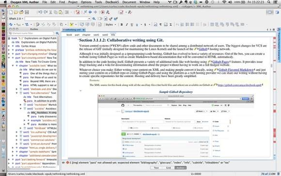 Visual editing using OxygenXML Author