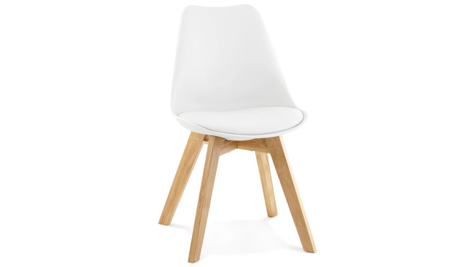 trendy chaise blanche pied bois delorm design