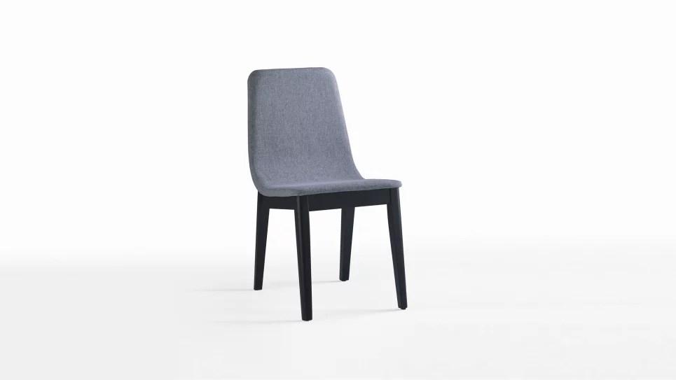 chaise tissu gris design avec pieds en bois lot de 2 chaises