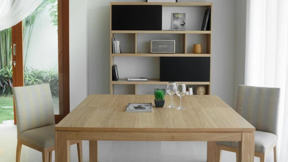 table carree avec rallonge en chene massif nathan delorm design