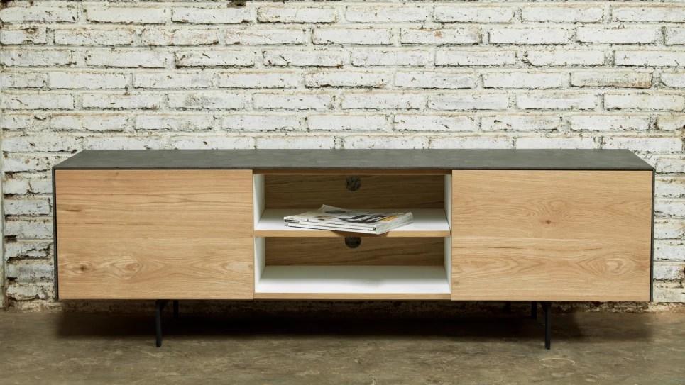 meuble tv chene massif 1 portes 1 tiroirs 2 niches xena delorm design
