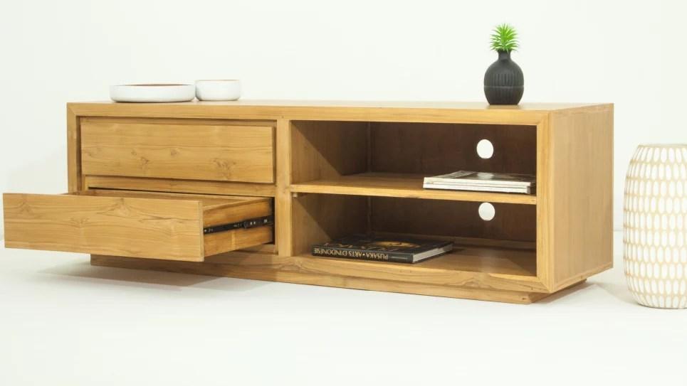 meuble tv design en teck massif 2 tiroirs et 2 niches