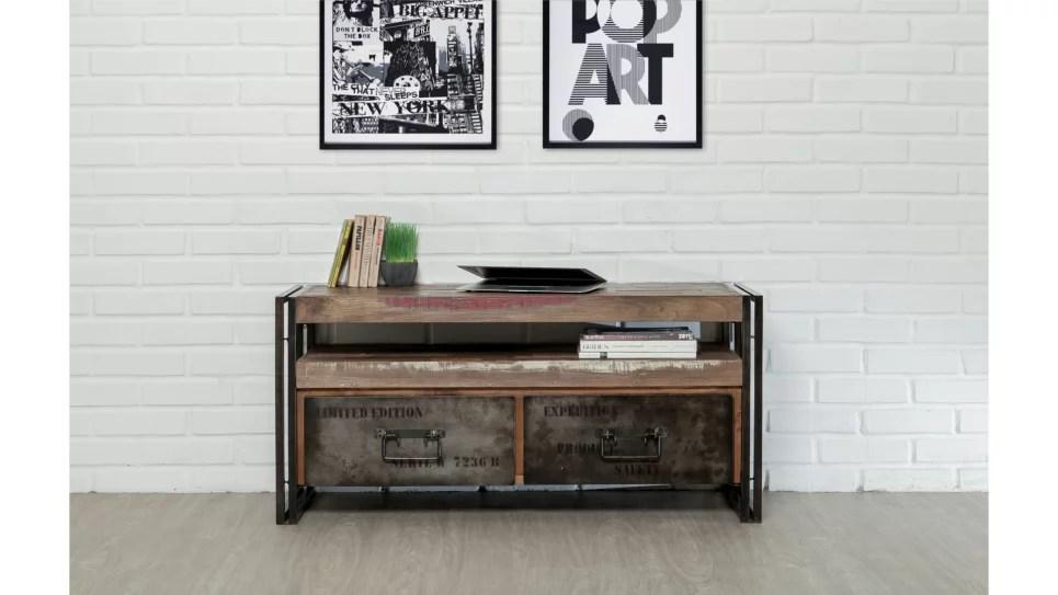 meuble tv 2 tiroirs 1 niche teck recycle 110 cm loft delorm design