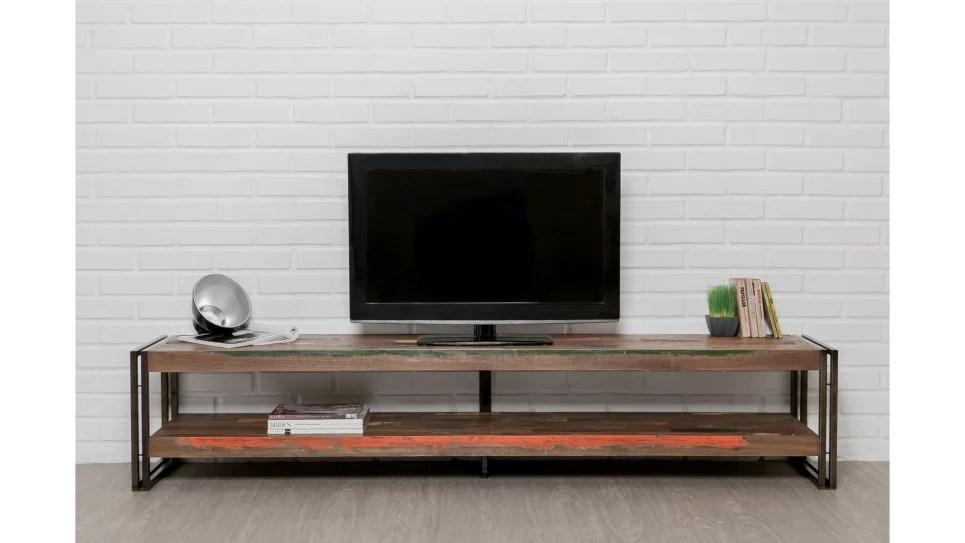 meuble tv double plateau teck recycle 200 cm loft delorm design