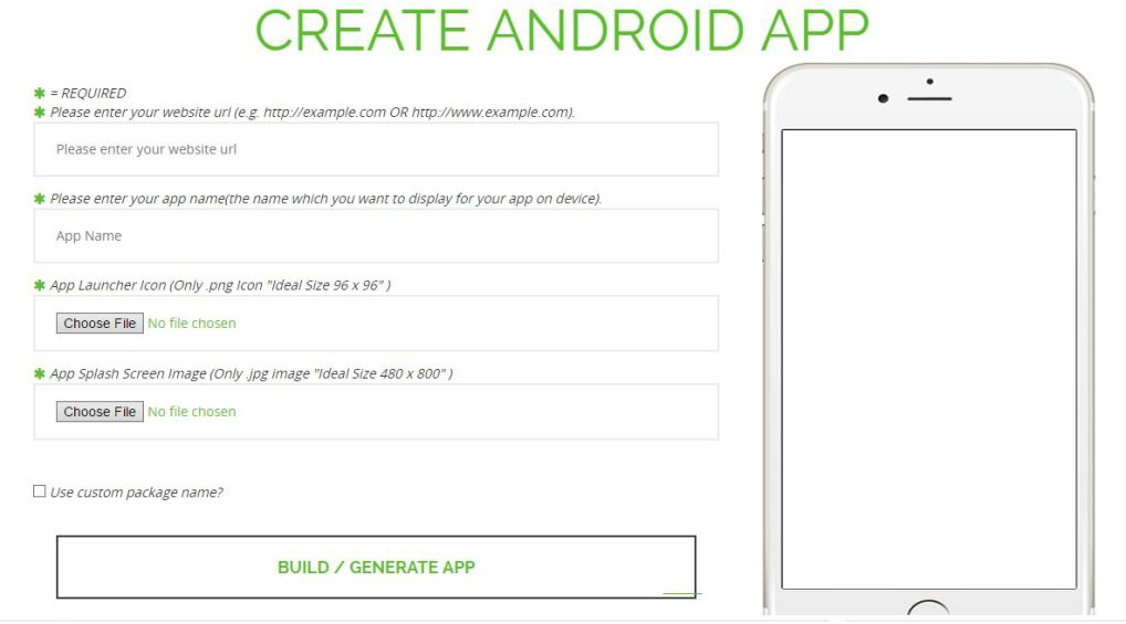 web2app builder - create android app from website