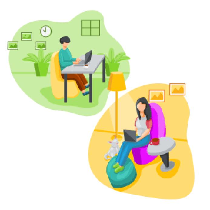 immagini di ufficio in smartworking