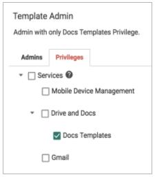 admin privilege managing custom templates in Google Docs