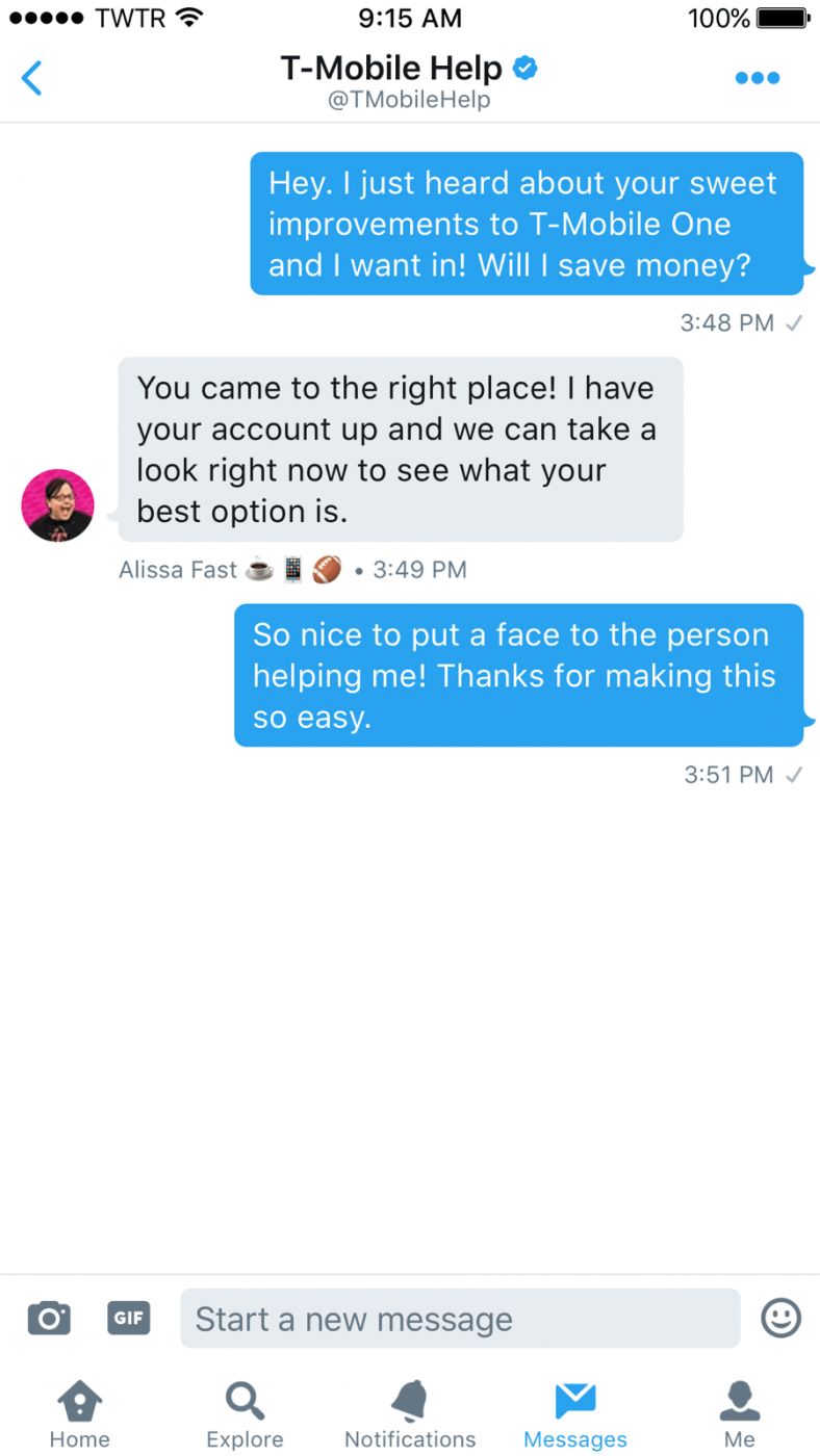 Twitter Custom profiles in Direct Messages