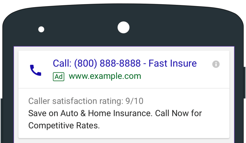 AdWords click-to-call ads including caller details