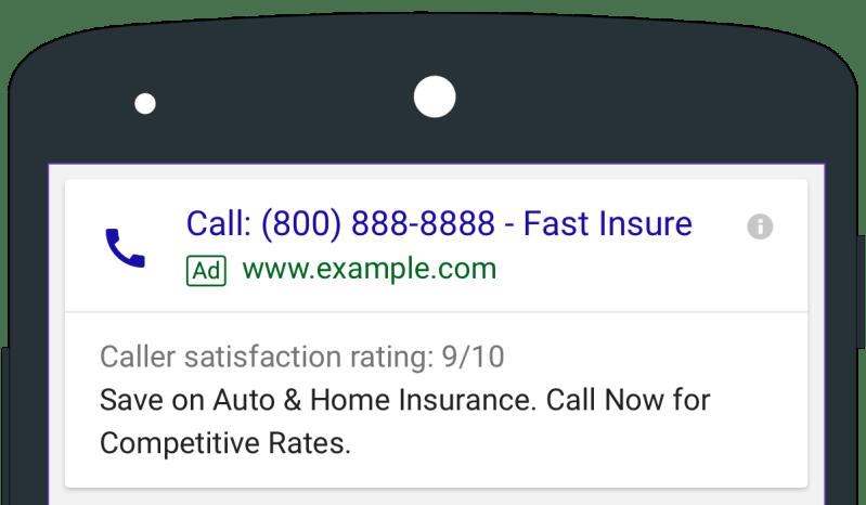 AdWords click-to-call ads including caller details