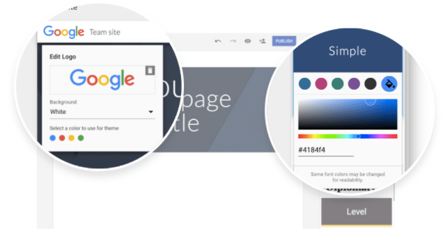 Customize Google Sites with logos and colors