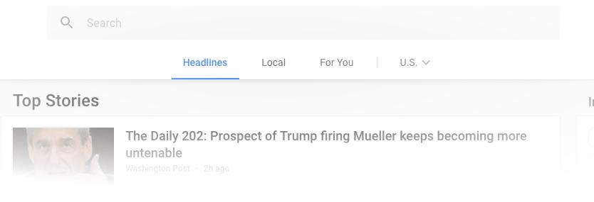 Google News new top navigation bar