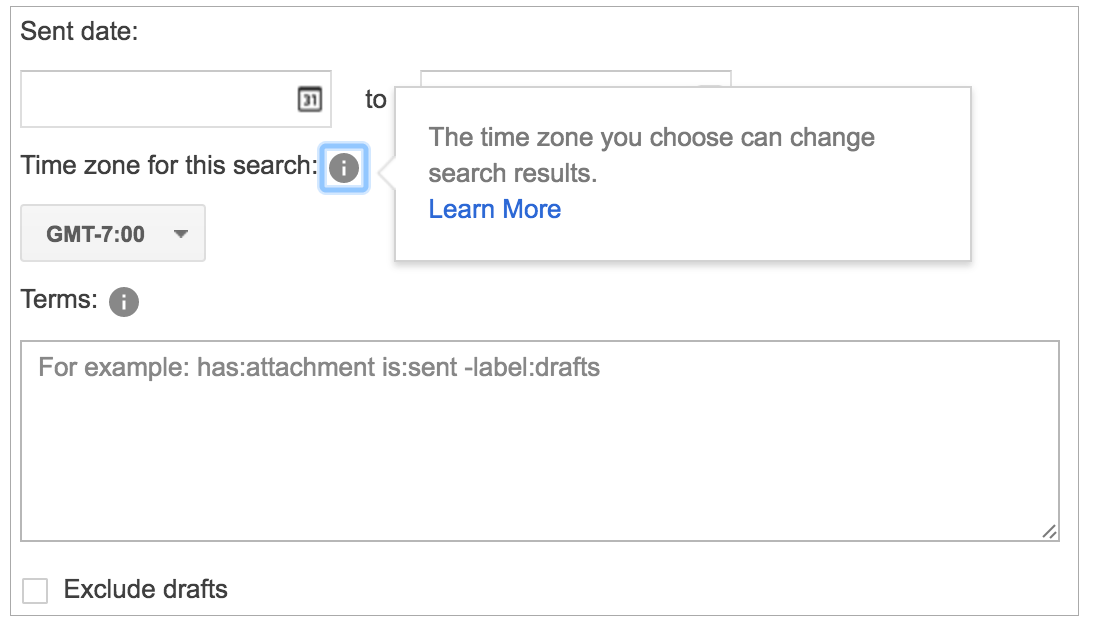 Google Vault seach specific time zone