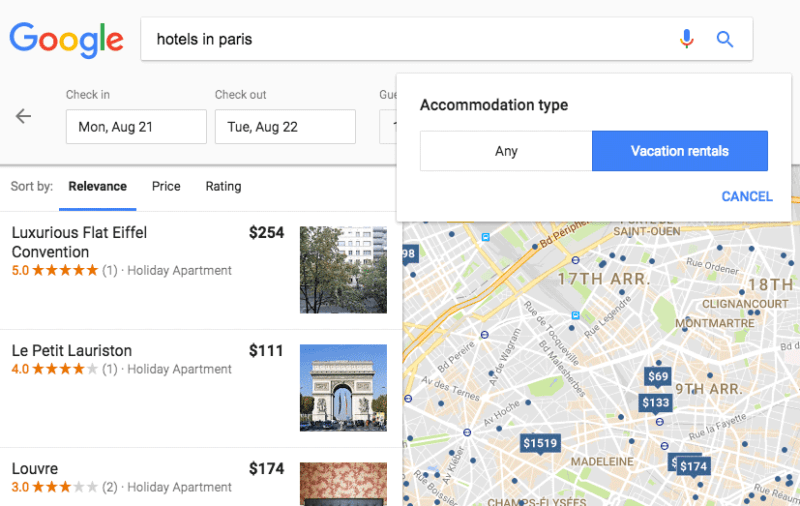 Google Search vacation rental filter