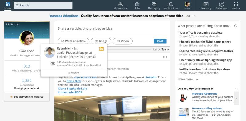 LinkedIn Profile hover